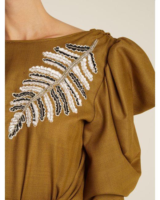 Attico Livia Svarowski Embroidered Wool Dress Save 31