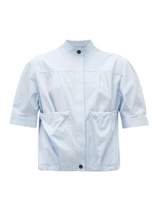Ferragamo ギャザーポケット コットンポプリンシャツ Blue