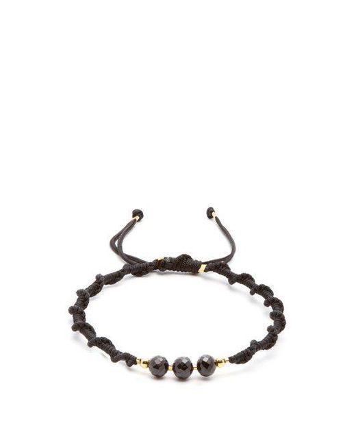 Black Dakini - Black Bead-embellished Cord Bracelet for Men - Lyst