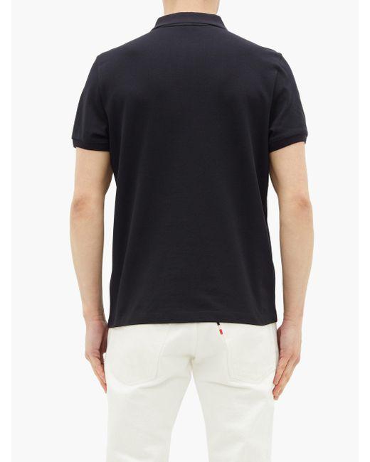 メンズ Moncler コットンピケ ポロシャツ Black