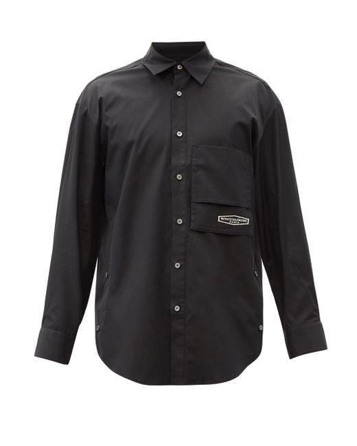 メンズ Wooyoungmi ロゴ コットンシャツ Black