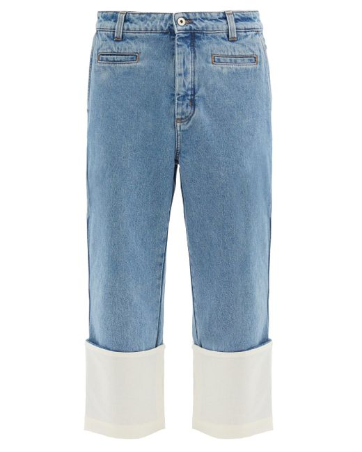 メンズ Loewe フィッシャーマン ロールアップ クロップドジーンズ Blue