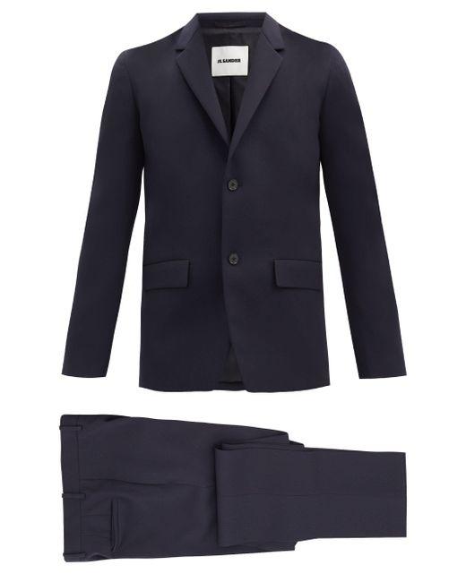 メンズ Jil Sander ウールギャバジン シングルスーツ Blue