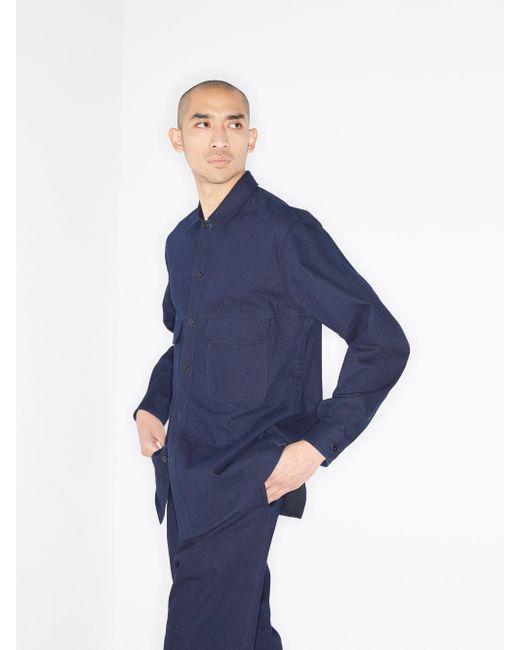 Chemise en coton à poches poitrine Raey pour homme en coloris Blue