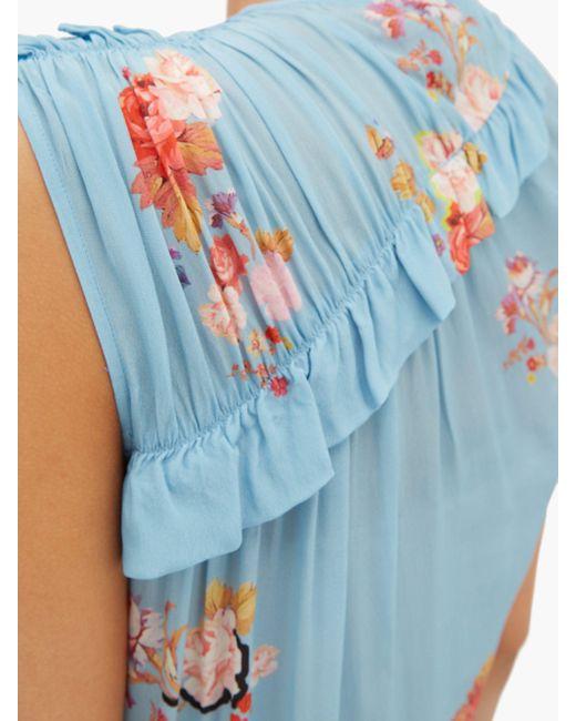Preen Line Antoinette ラッフル フローラルプリント クレープドレス Blue