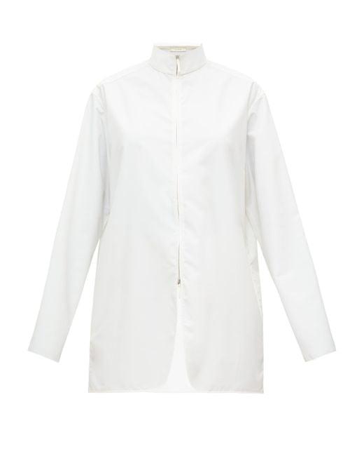 The Row ザナ ハイネック ポプリンシャツ White