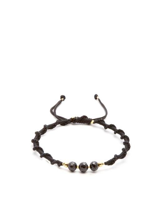 Black Dakini - Black Bead Embellished Cord Bracelet for Men - Lyst