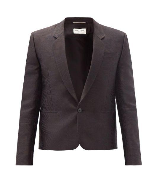メンズ Saint Laurent スペンサー シルクジャカード シングルジャケット Black