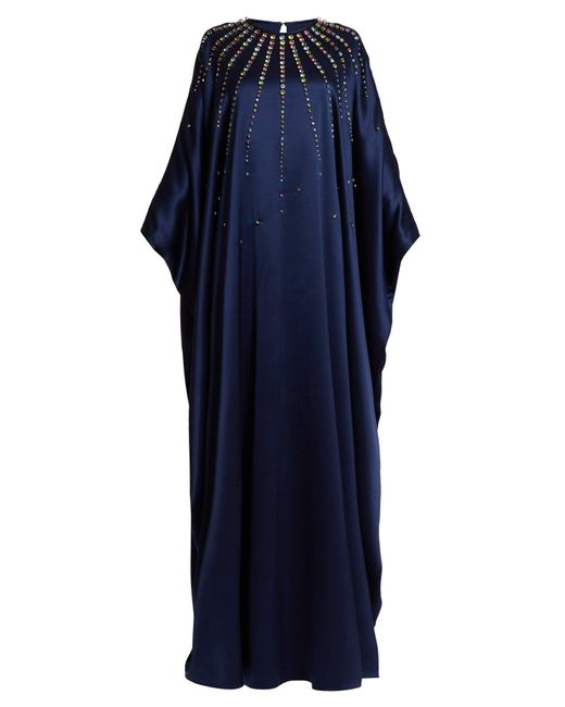 Carolina Herrera クリスタル シルクサテンドレス Blue