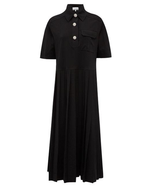 Ganni クリスタルボタン ジャージーシャツドレス Black