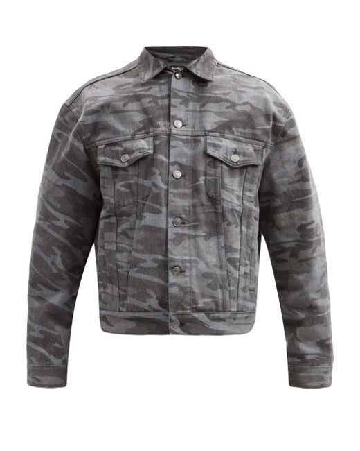 メンズ Balenciaga カモフラージュ デニムジャケット Gray