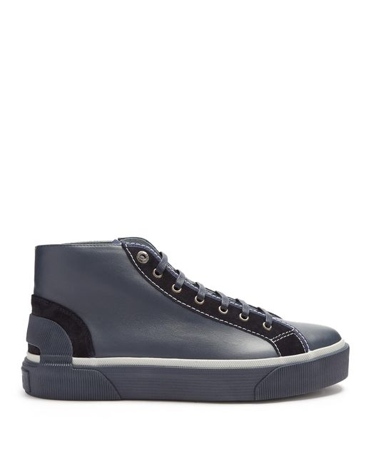 Lanvin - Blue High-top Leather Trainers for Men - Lyst