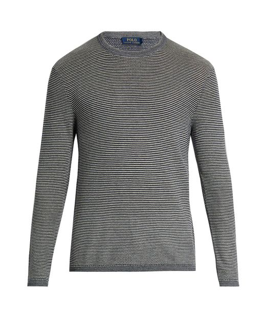 Polo Ralph Lauren | Blue Striped Cotton And Cashmere-blend Sweater for Men | Lyst