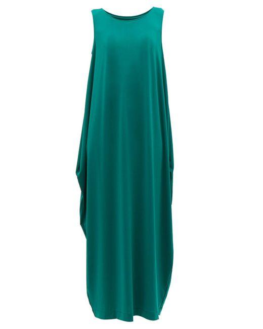 Issey Miyake Green Draped Jersey Midi Dress
