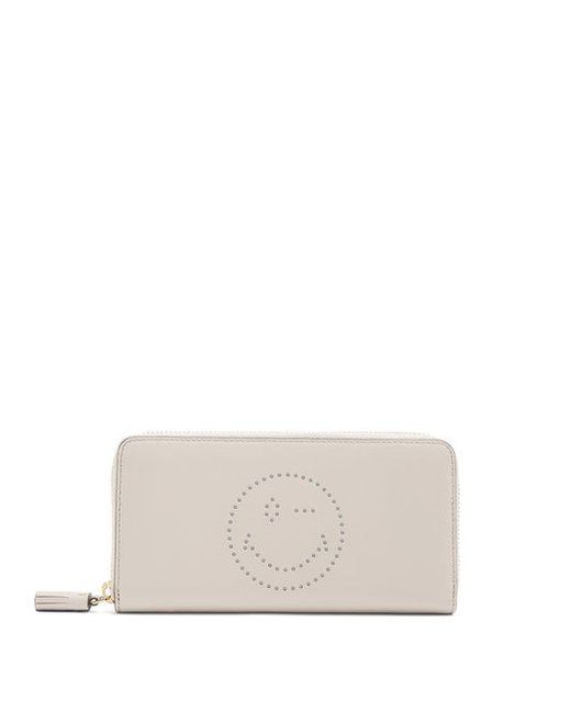 Smiley zip-around leather continental wallet Anya Hindmarch LCJznUwBOe