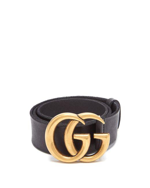 Gucci Black Gg Logo Raw Edge Leather Belt