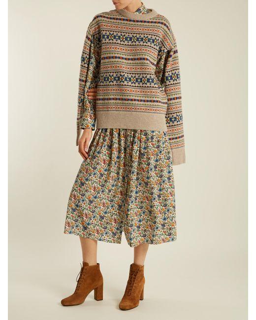 Lyst - Joseph Slit-sleeve Fair-isle Knit Sweater in Natural
