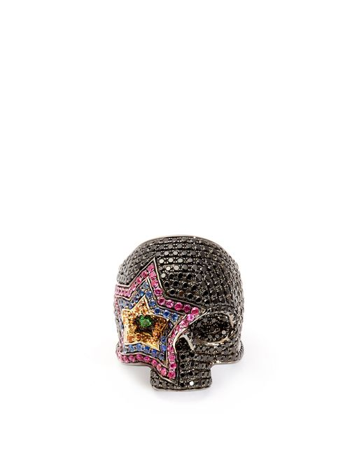 Lynn Ban - Black Cosmic Sapphire & Rhodium Plated Skull Ring - Lyst