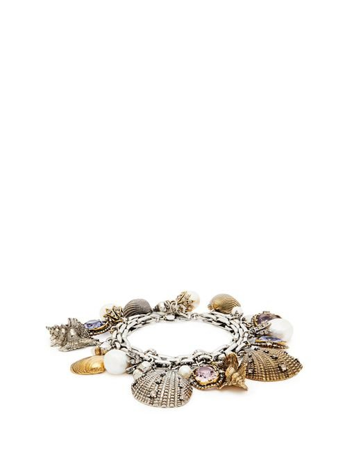 Alexander McQueen - Metallic Crystal And Faux Peal Shell Charm Bracelet - Lyst