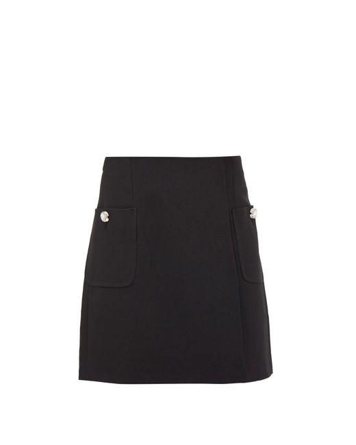 N°21 クレープ ミニスカート Black