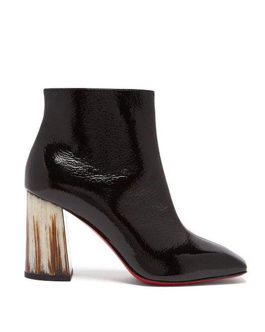 quality design f0a57 b2b70 Women's Black Hilconico 85 Horn Heel Patent Leather Boots