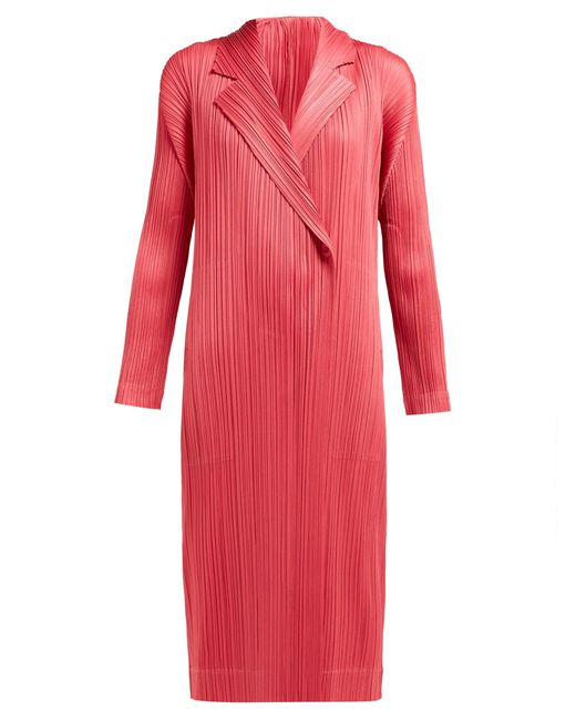 Pleats Please Issey Miyake Pink Single Breasted Pleated Coat