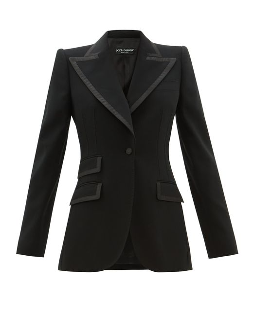 Dolce & Gabbana Black Single-breasted Faille-trimmed Wool-blend Blazer