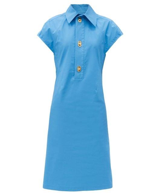 Bottega Veneta キャップスリーブ コットンブレンドドレス Blue