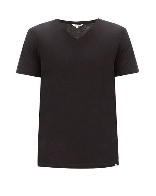 メンズ Orlebar Brown Vネック コットンtシャツ Black