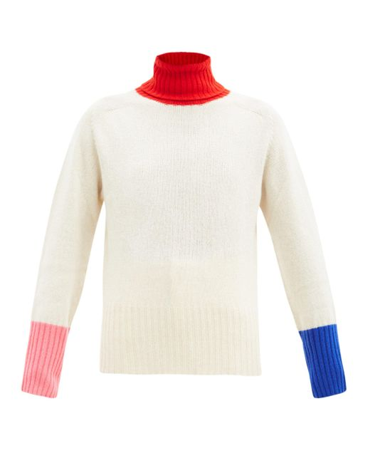 La Fetiche タートルネック カラーブロック ウールセーター Multicolor