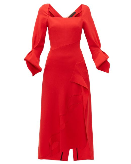 Roland Mouret Red Trinity Laser-cut Panelled Wool Midi Dress