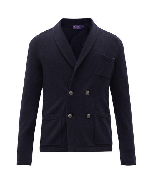 メンズ Ralph Lauren Purple Label ショールカラー カシミアダブルカーディガン Blue