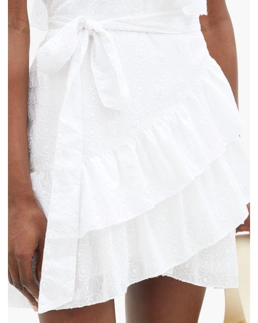 Melissa Odabash モリ― ラッフル コットンラップドレス White