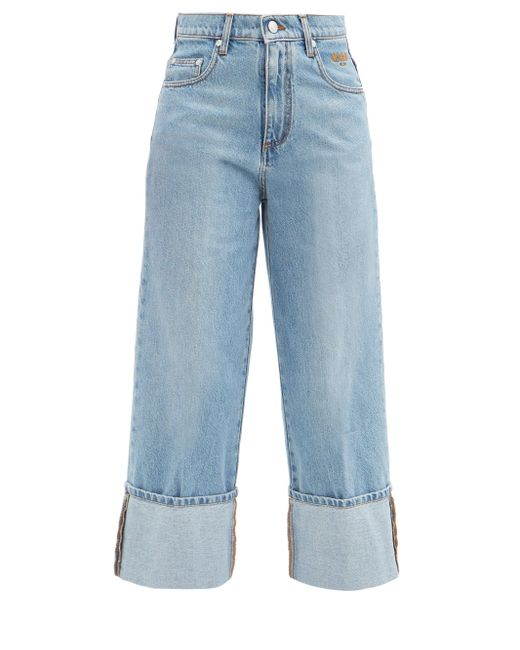 MSGM クロップド ロールアップジーンズ Blue