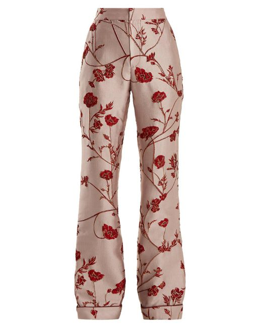 Johanna Ortiz Pink Jancita High Rise Flared Brocade Trousers
