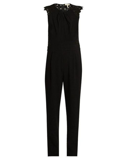 Rebecca Taylor - Black Sleeveless Crepe Jumpsuit - Lyst