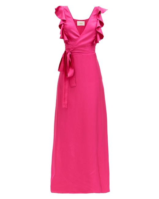 LaDoubleJ ウェディングゲスト シルクツイルドレス Pink