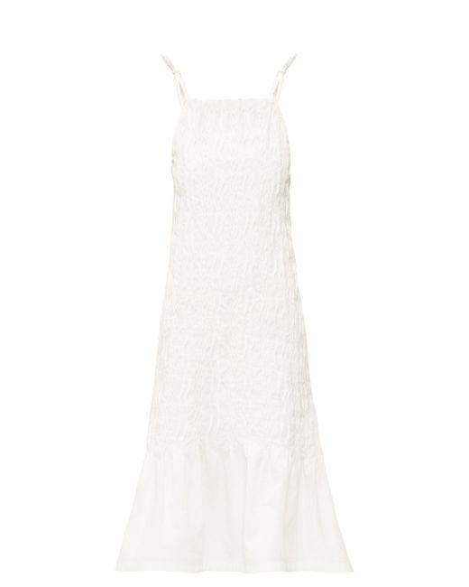 Jil Sander ピンタック リネンキャンバスドレス White