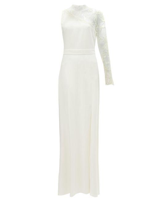 Alexander McQueen ワンショルダー レーストリム クレープドレス White