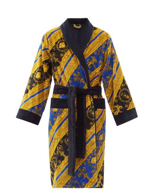 メンズ Versace I Love Baroque プリント コットンバスローブ Blue