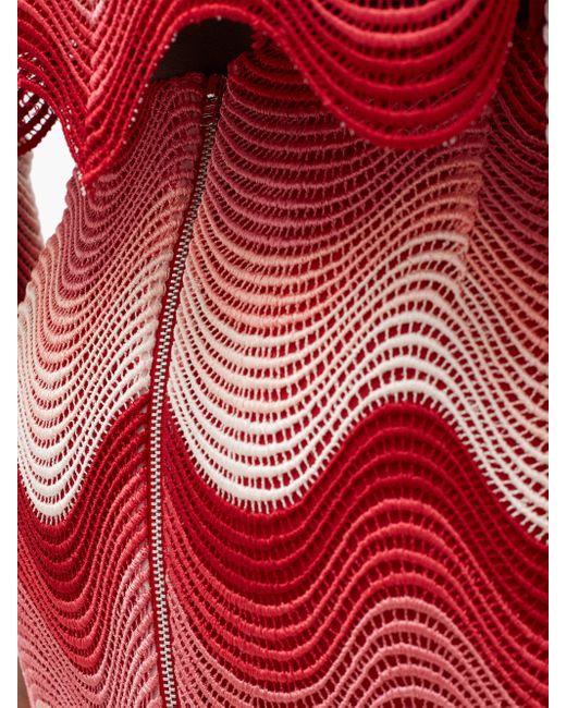 Mary Katrantzou モアスマイルス ウェーブクロシェ マキシスカート Red