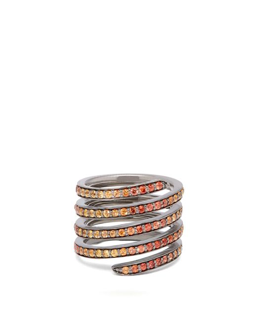 Lynn Ban - Orange Ombré Sapphire & Rhodium Coil Ring - Lyst