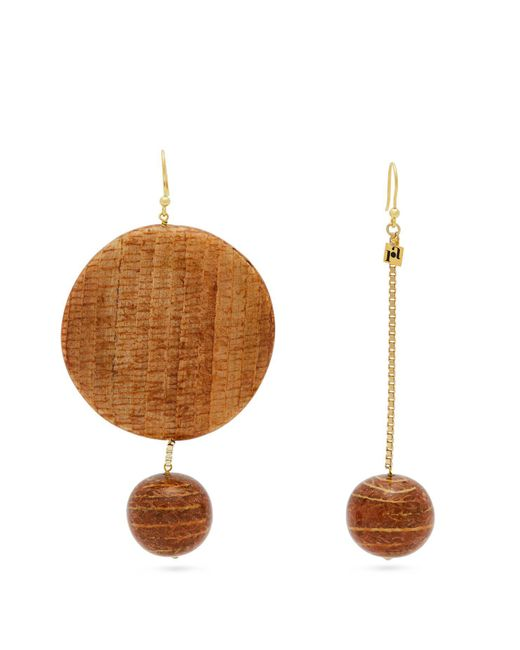 Rosantica By Michela Panero - Metallic Mismatched Bamboo Drop Earrings - Lyst