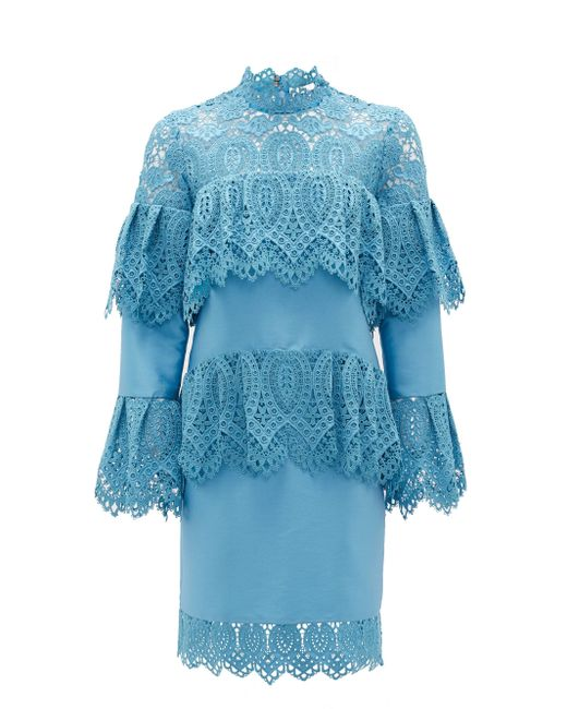 Erdem リンデル レイヤード レースドレス Blue
