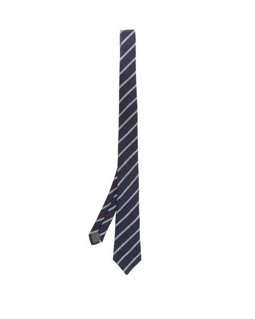 メンズ Brunello Cucinelli ストライプリネン ネクタイ Blue