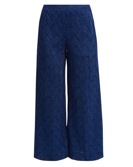 Missoni - Blue Cropped Wide-leg Knit Trousers - Lyst