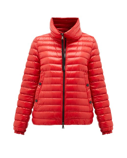 Moncler Red Down-filled Lightweight Nylon Jacket