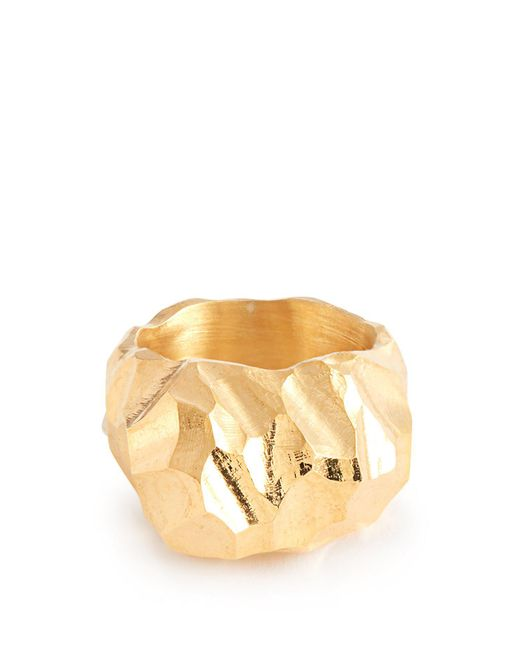 All_blues - Metallic Rauk Tall Carved 18kt Gold Vermeil Ring for Men - Lyst