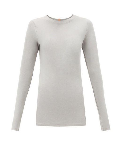 Lunya リストア ベース ロングスリーブ コットンブレンドtシャツ Gray