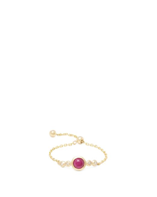 Anissa Kermiche Metallic July Diamond, Ruby & Gold Chain Ring